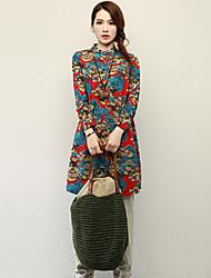 婦人向け クルーネック/スタンド ポケット/ボタン/フラワー シャツ , コットン/リネン 長袖