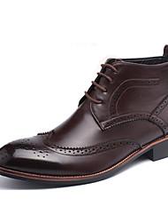 Черный / Коричневый / Желтый Мужская обувь На каждый день Кожа Ботинки