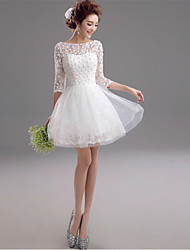 A-Line Illusion Neckline Short / Mini Lace Wedding Dress with Beading by AMGAM