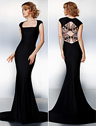 Formal Evening Dress - Black Trumpet/Mermaid Square Court Train Jersey