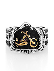 Punk Style Motorcycle Shape Titanium Steel Ring For Men(White,Gold)(1Pc)