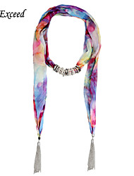 D Exceed Gradient Colors Scarves Metal Tassels with Circles Pendants Printing Scarf Necklace for Women Wholesale