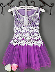 Girl's Blue / Pink / Purple Dress,Ruffle / Lace Cotton / Polyester / Lace / Mesh Summer / Spring / Fall