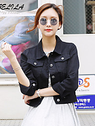 Women's Long Sleeve Short Jacket (Denim)