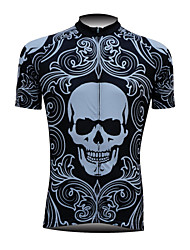 Fineou Men's Short Sleeve Spring/Summer/Autumn Cycling Tops Breathable/Quick Dry/Front Zipper/Compression As Picture