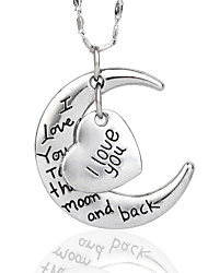 Super Shine I Love You To The Moon And Back Necklace For Mates Christmas Gift High Quanlity Silver
