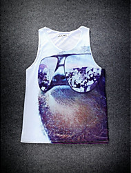 European Style Double Net Hole Vest Digital Printing 3D Sleeveless Glass Dog Harajuku Vest