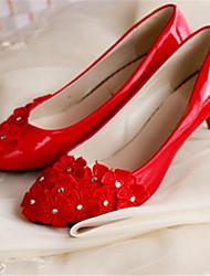 Women's Shoes Leather Low Heel Heels/Round Toe Pumps/Heels Wedding/Party & Evening Red
