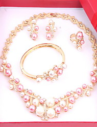 Classic Wedding Crystal Rhinestone Gold Plated (Including Necklace, Earring, Bracelet, Ring) Jewelry Sets