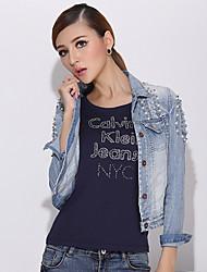Women's Blue Denim Top , Casual Shirt Collar Long Sleeve Beaded/Pocket/Button/Hole