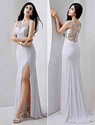 Formal Evening Dress - White Plus Sizes / Petite Sheath/Column Jewel Floor-length