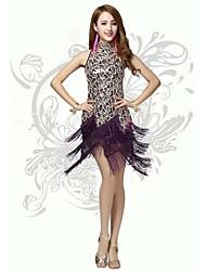 Latin Dance Dresses Women's Performance/Training Polyester/Milk Fiber Sequins/Tassel(s) 1 Piece Black/Purple/Red