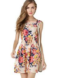 Women's New Fashion Floral Print Sleeveless Chiffon Dress