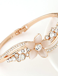 European Style Concise Fashion Metal Flower Rhinestone Opal Bracelet