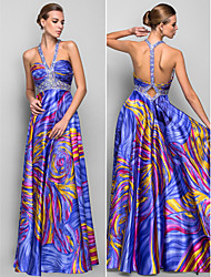 A-line/Princess Straps Floor-length Print Satin Evening Dress
