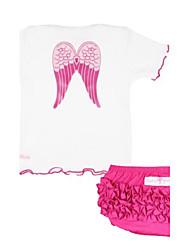 Waboats Kids Baby Girl Short-Sleeved Suit Printing Angel Wings