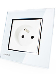 Livolo Outlet, French Standard Wall Power Socket, 220-250V,Luxury Crystal Glass Panel, White/Black Color VL-C7C1FR-11/12