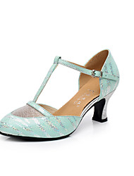 Non Customizable Women's Dance Shoes Modern Leather Chunky Heel Green