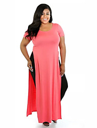 Women's Casual/Daily Plus Size Dress,Solid Round Neck Maxi Short Sleeve Blue / Pink / Black Polyester All Seasons