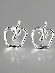 New Design 2015 Italy Style Silver Plated Apple Design Stud Earrings for Lady Wedding Jewelry for Men And Women