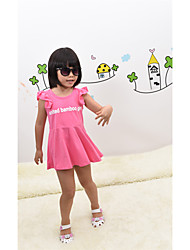 Girls' Summer Dresses Falbala Sleeve Letter Printing Basic One Piece Dresses(Cotton)
