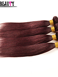 "4Pcs/Lot 10""-26"" Peruvian Virgin Hair Straight Burgundy Pure Color 6A Remy Human Hair Weave Cheap Queen Hair Products"