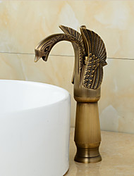 Antique Brass Finish Little Swan Tall Bathroom Sink Faucet