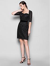 Vestido de Dama de Honor - Negro Corte Recto Escote Corazón - Hasta la Rodilla Encaje