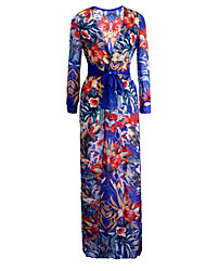 Women's Sexy Beach Print Cute Maxi Plus Sizes Inelastic Long Sleeve   Dress (Chiffon)