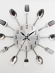 Cool Stylish Modern Design Wall Clock Silver Kitchen Cutlery Utensil Vintage Design Wall Clock Spoon Fork Home Decor