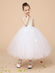 Ball Gown Tea-length Flower Girl Dress - Tulle Sleeveless Straps with