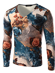 Men's Print Casual T-Shirt,Others Long Sleeve-Multi-color