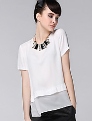 Women's Solid White/Yellow Blouse , Round Neck Short Sleeve Layered