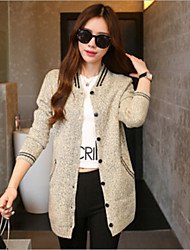 Women's Preppy Style Casual Long Sleeve Long Coat More Colors