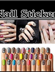 10Set Nail Patch Metal Nail Stickers Strips Nail Art Polish Stickers Nail Wraps 16Pcs/Set 368Colors Choosing