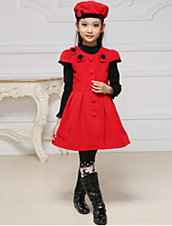 Girl's Cotton/Polyester Sweet Leisure Short Sleeve Dress with Hat