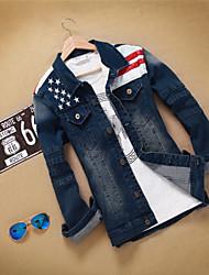 Men's Print Long Sleeve Jacket , Denim Casual
