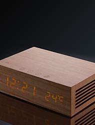 homtime® m9 mfc madera bluetooth 4.0 caja del altavoz de alarma del reloj incorporado altavoces con cargador dual usb