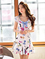 Vestidos ( Elástico/Poliéster )- Bodycon/Casual/Impresión Cuadrado Manga Corta para Mujer