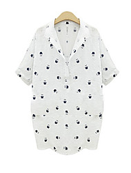 Women's Print White Shirt , Shirt Collar Short Sleeve