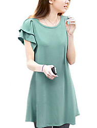 Women's Casual/Plus Sizes XL-5XL Micro-elastic Short Sleeve Above Knee Dress