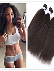 "3Pcs/Lot 8""-34"" 100% Brazilian Human Hair Extension Kinky Straight #1B Unprocessed Virgin Hair Weft Weaves"