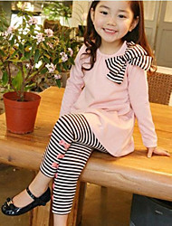 Girl's Cotton/Polyester Leisure Sweet Cute Bowknot Stripe Princess Clothing Set