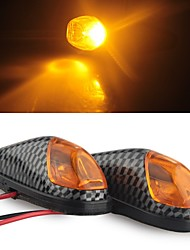Carbon Motorcycle Yellow High Power LED Turn Signal Indicator Light DC 12V (2 Pcs)