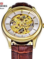 rodada pulseira de couro relógio de marcação fino relógio automático de auto-liquidação dos homens (cores sortidas)