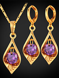 TopGold Cute Amethyst Pendant Earrings Set for Women 18K Gold / Platinum Plated Purple Zirconia Jewelry High Quality