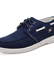 Men's Shoes Casual Fabric Boat Shoes Blue/White