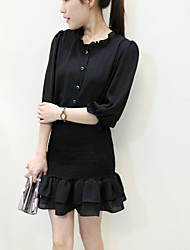 Women's Solid Pink/Black Dress , Casual/Party Asymmetrical ¾ Sleeve Ruffle