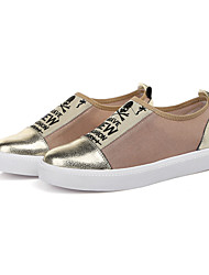 Women's Shoes Leather/Stretch Satin Flat Heel Comfort/Round Toe Loafers Outdoor/Athletic/Casual Black/Silver/Gold