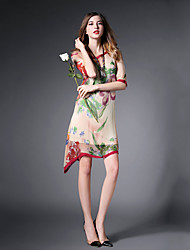 Women's Print Micro-elastic ½ Length Sleeve Asymmetrical Dress (Chiffon)